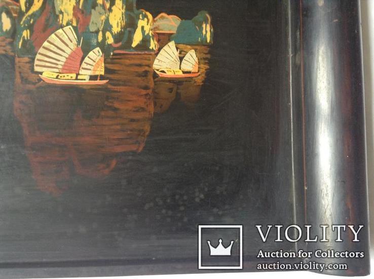 Поднос чёрно - лаковый. Вьетнам ручная роспись., фото №6