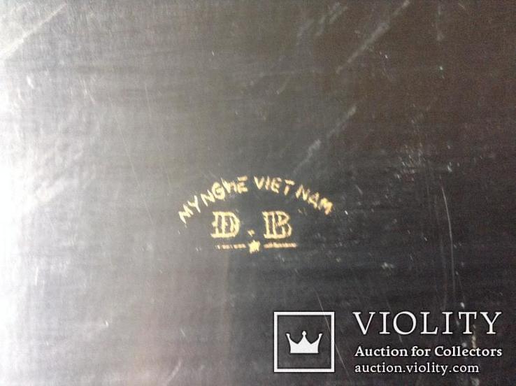 Поднос чёрно - лаковый. Вьетнам ручная роспись., фото №7