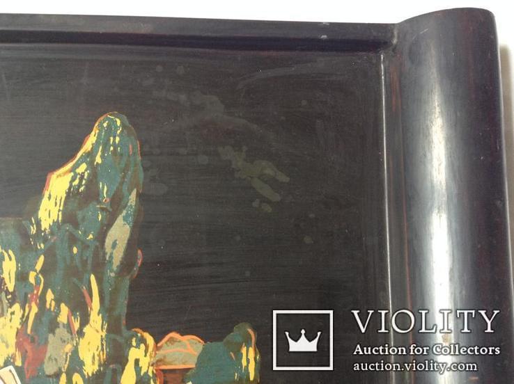 Поднос чёрно - лаковый. Вьетнам ручная роспись., фото №11