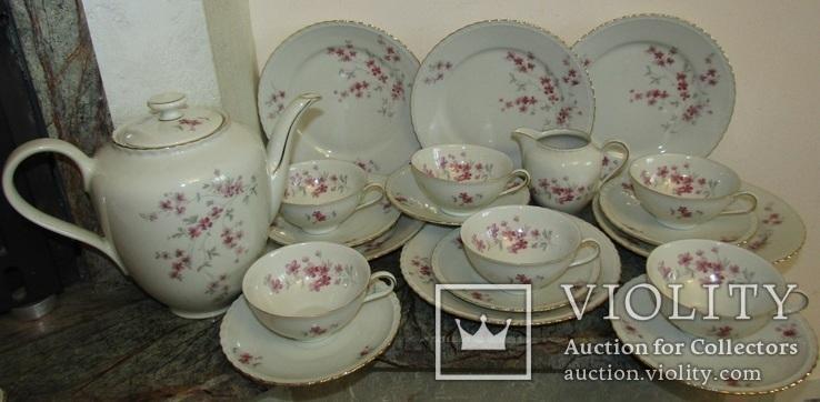 Сервиз чашки блюдца тарелки молочник чайник фарфор золочение Бавария Германия