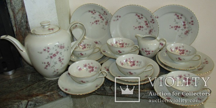 Сервиз чашки блюдца тарелки молочник чайник фарфор золочение Бавария Германия, фото №4