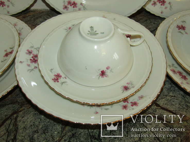 Сервиз чашки блюдца тарелки молочник чайник фарфор золочение Бавария Германия, фото №12