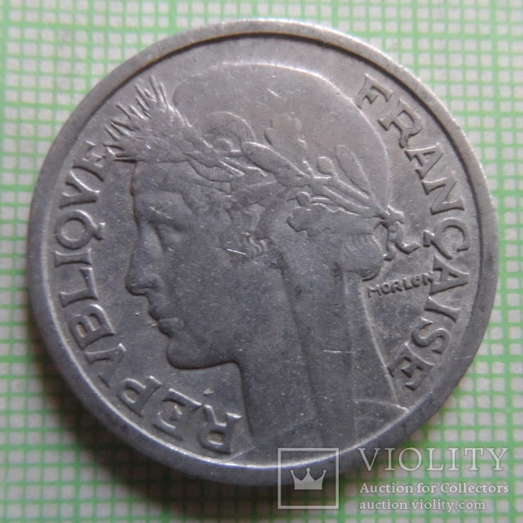 2 франка 1949 В  Франция   (Р.4.26)~, фото №3