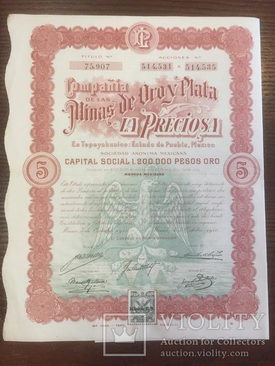5 акцій компанії Мексики, 1911