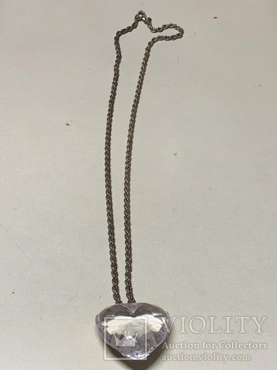 Кулон в виде сердечка на цепочке с италии 43 грамма, фото №3