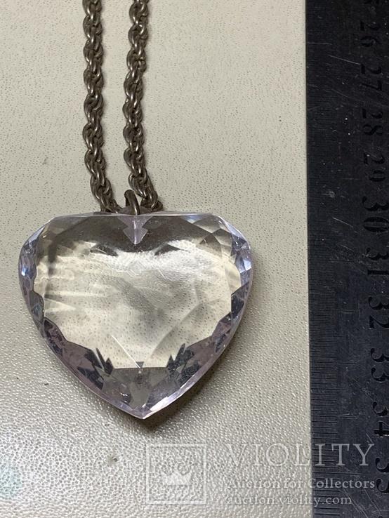 Кулон в виде сердечка на цепочке с италии 43 грамма, фото №5
