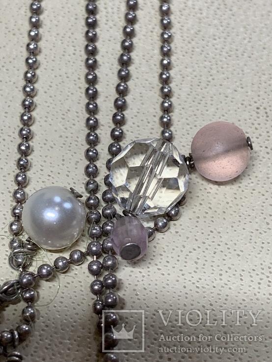 Колье с Италии серебро 925 с камушками, фото №5