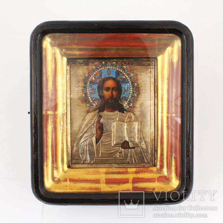 Господь Вседержитель в окладе из серебра 84 в позолоте с эмалями 11 х 13.5 см