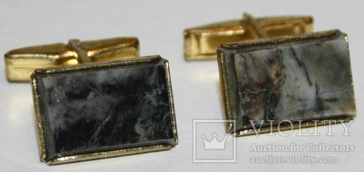 3.Запонки латунные с камнем (змеевик) СССР, фото №2