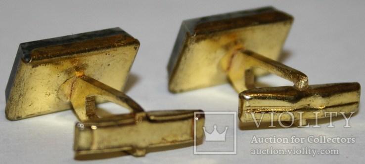 3.Запонки латунные с камнем (змеевик) СССР, фото №4