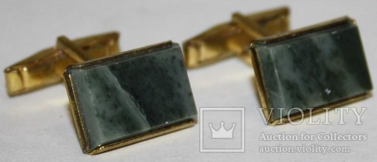 2.Запонки латунные с камнем (змеевик) СССР, фото №2