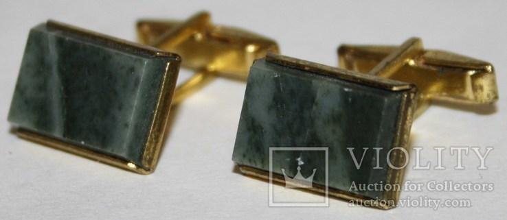 2.Запонки латунные с камнем (змеевик) СССР, фото №3