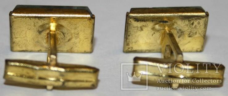 2.Запонки латунные с камнем (змеевик) СССР, фото №4
