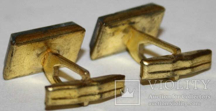 2.Запонки латунные с камнем (змеевик) СССР, фото №5