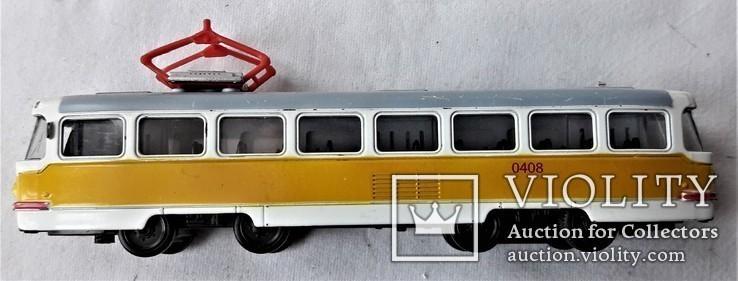 Трамвай Татра 1:87 НО для макета Ж/Д, инерционный, фото №6