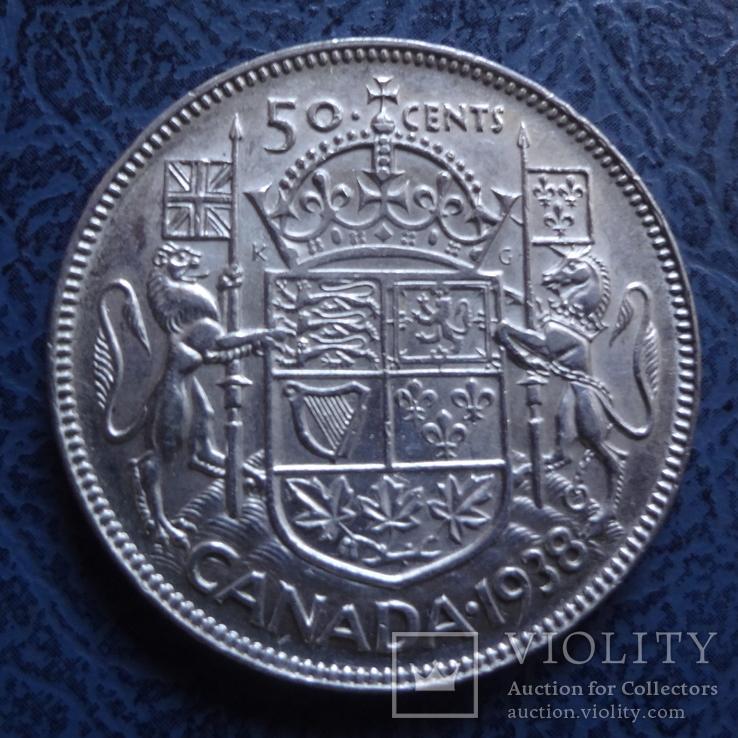50 центов   1938  Канада  серебро   (2.6.8)~, фото №2