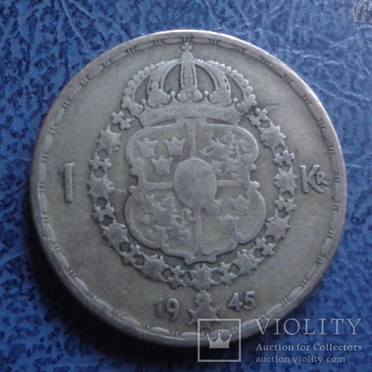 1 крона  1945  Швеция  серебро   (2.7.5)~, фото №2