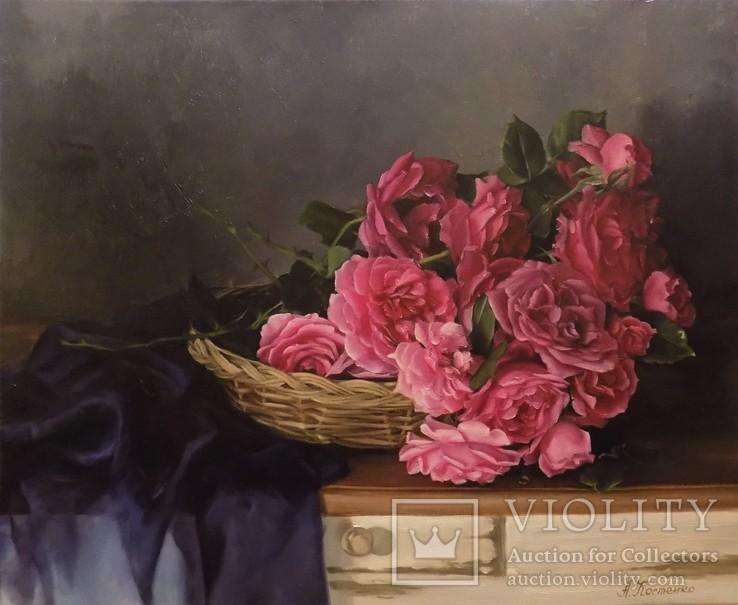 """Натюрморт с садовыми розами"" 45х55 см, х/м, Костенко А.С."