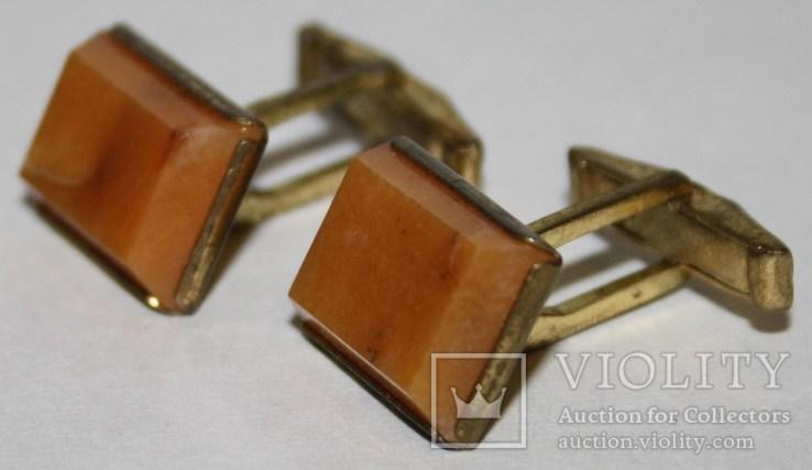 7.Запонки латунные с камнем (СССР), фото №2
