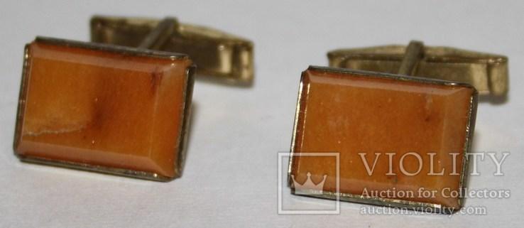 7.Запонки латунные с камнем (СССР), фото №3