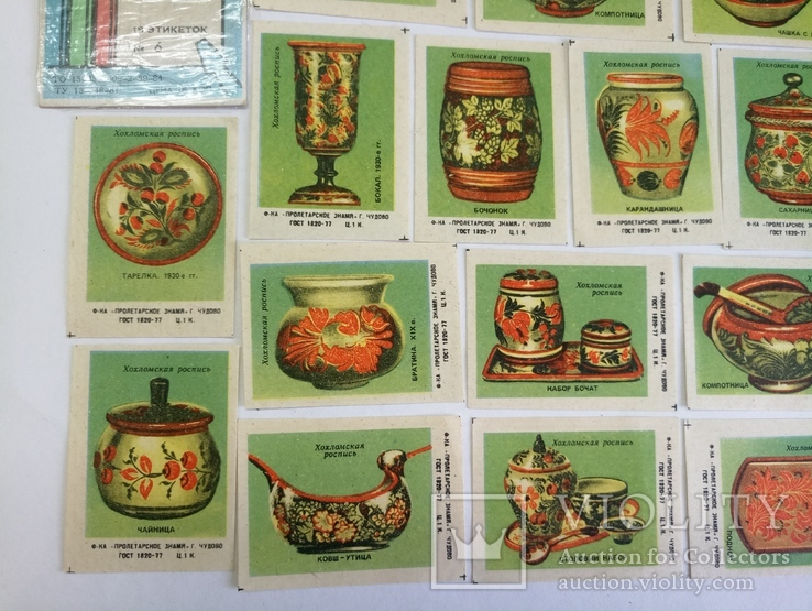Набор спичечных этикеток Хохломская роспись, фото №5