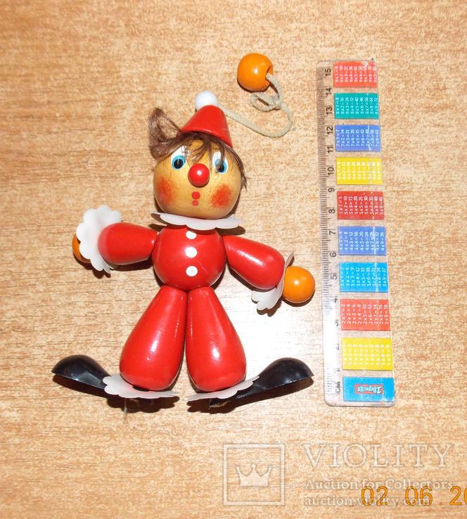 Деревянная игрушка-подвеска Клоун., фото №2