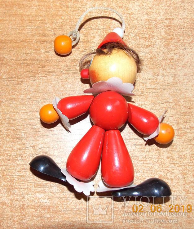 Деревянная игрушка-подвеска Клоун., фото №3
