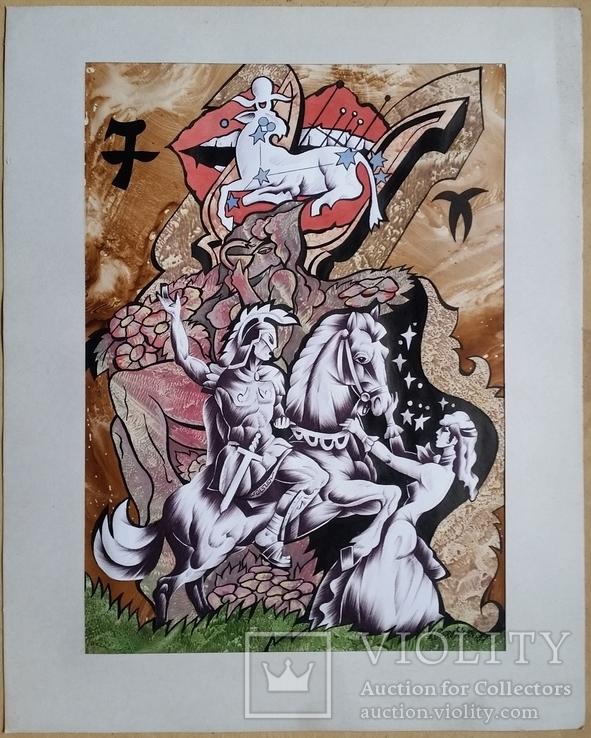 """Картина """"Овен"""", папір, акварель, туш, 42х31 см, фото №2"""