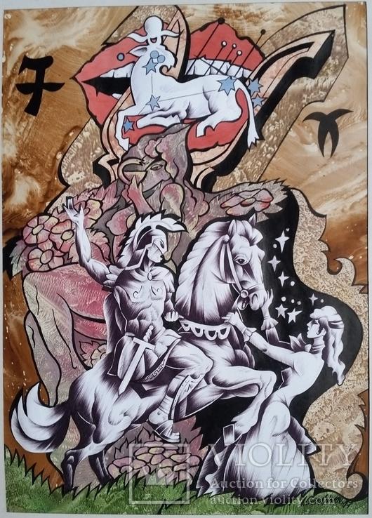 """Картина """"Овен"""", папір, акварель, туш, 42х31 см, фото №3"""