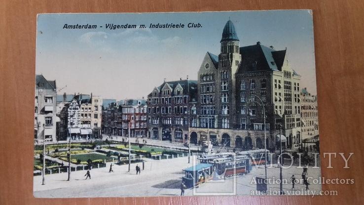 Открытка Амстердам. Нидерланды. Vijgendam. Трамвай. Автомобили.Транспорт, фото №2