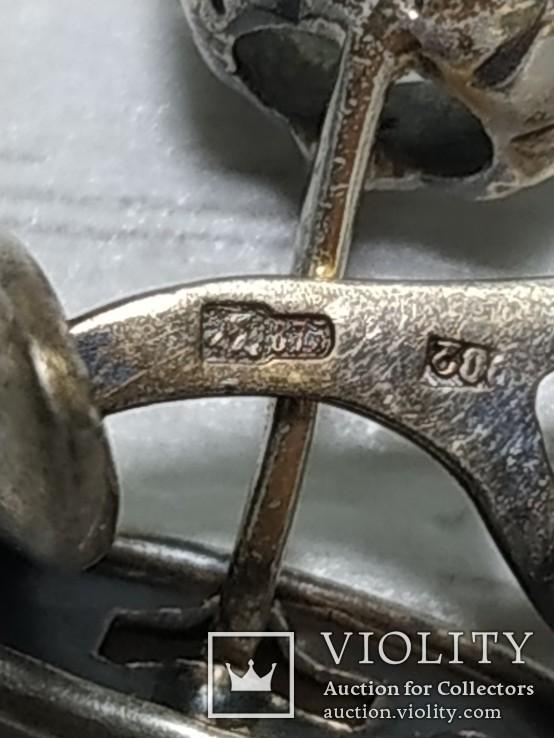 Запонки Горный хрусталь, серебро 875. Голова., фото №9