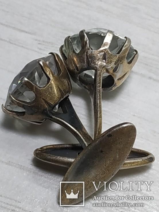 Запонки Горный хрусталь, серебро 875. Голова., фото №10
