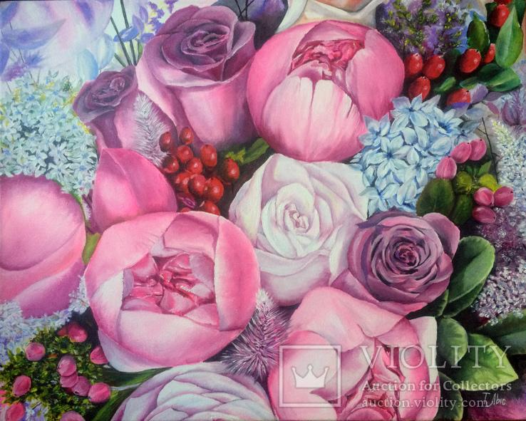 Картина маслом 40х50 Букет с ягодами