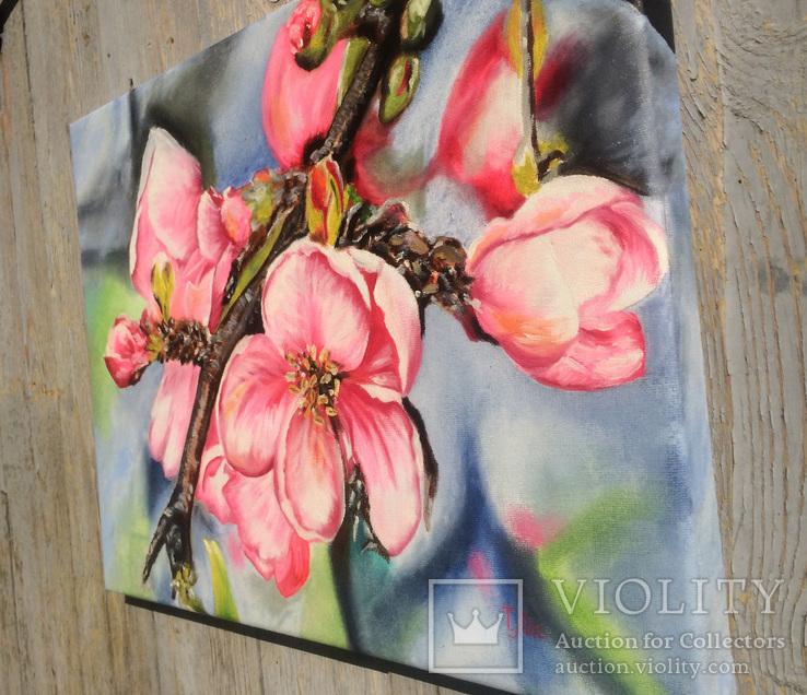 Картина маслом 30х40 Цветение яблони, фото №5