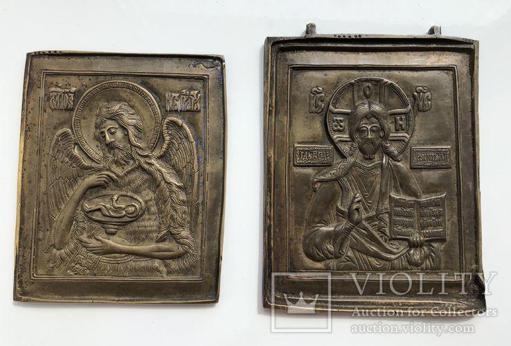 Икона-пластика бронза Деисус, фото №2