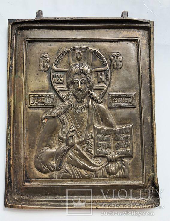 Икона-пластика бронза Деисус, фото №4