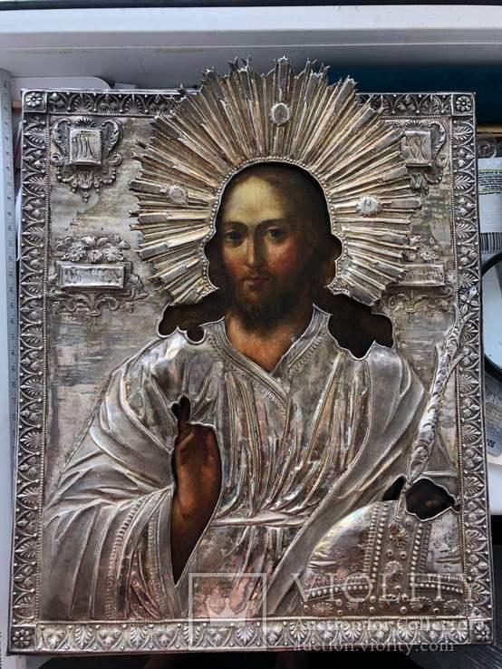 Икона Господь Вседержитель, серебро 1818.