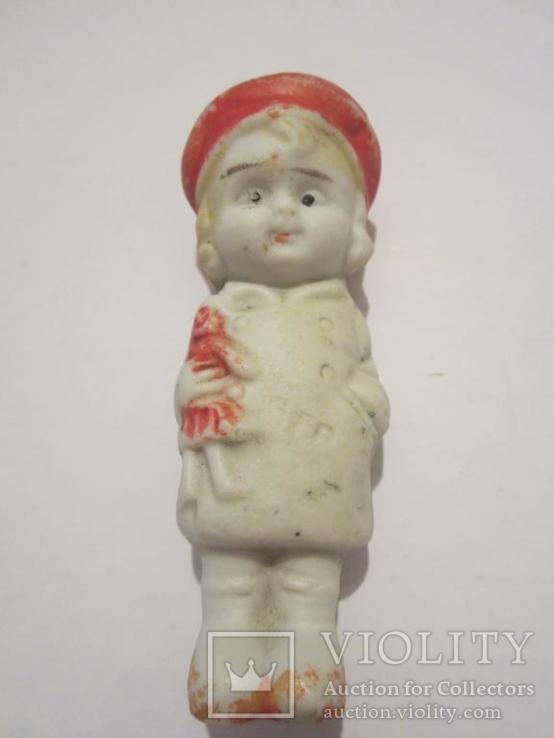 Антикварная фарфоровая кукла с игрушкой 7см Япония