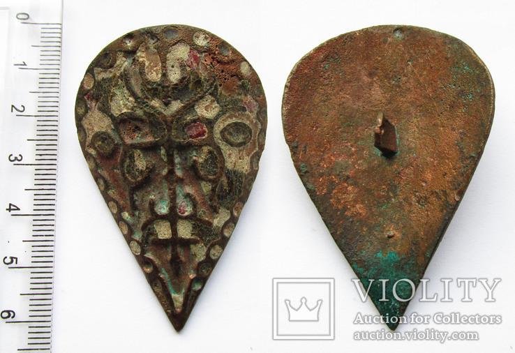 Большая пуговица с эмалью КР, дробница щитовидная , процветший крест крин, фото №5