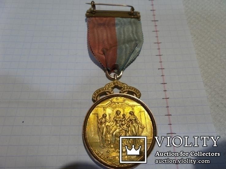Масонская медаль 1913 год. позолота знак масон 1925, фото №10
