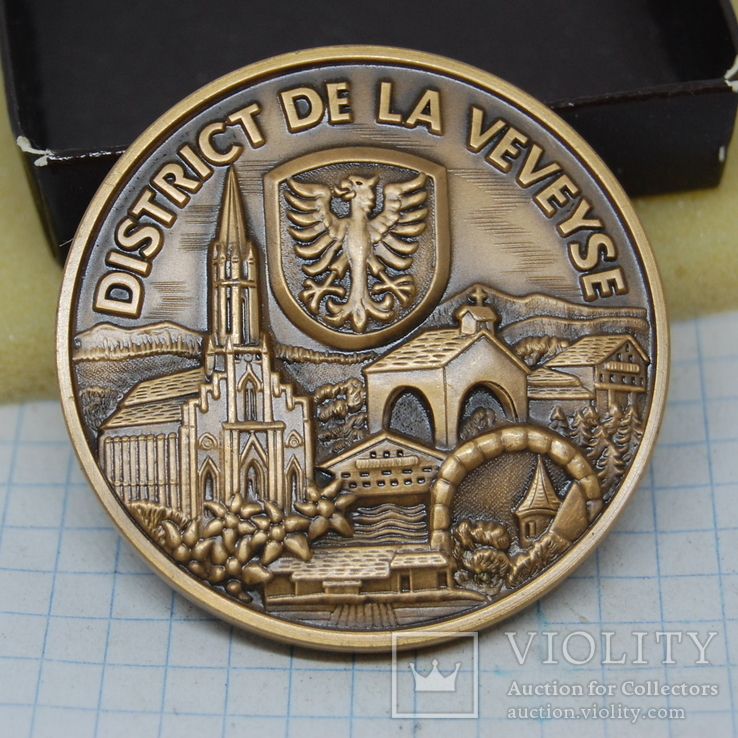 Медаль 1997 Швейцария. 64-й Марафон Morat Fribourg Murtenlauf. тяжелая, фото №2