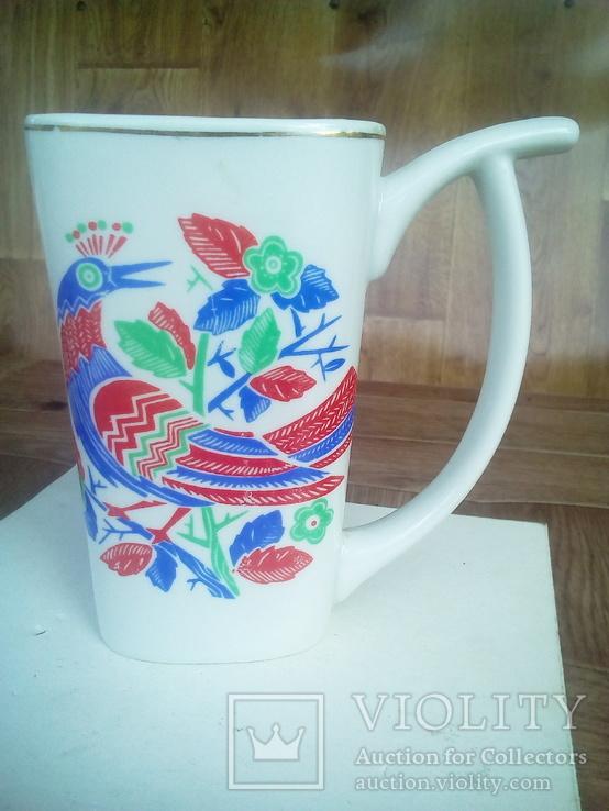 Чашка фарфор с рисунком птицы., фото №2