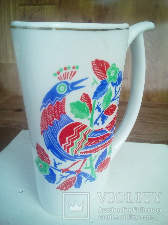 Чашка фарфор с рисунком птицы., фото №3