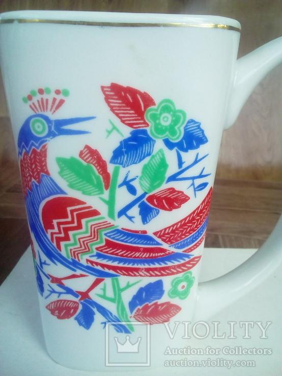 Чашка фарфор с рисунком птицы., фото №6