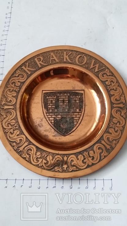 Сувенирная медная тарелка Краков, фото №3