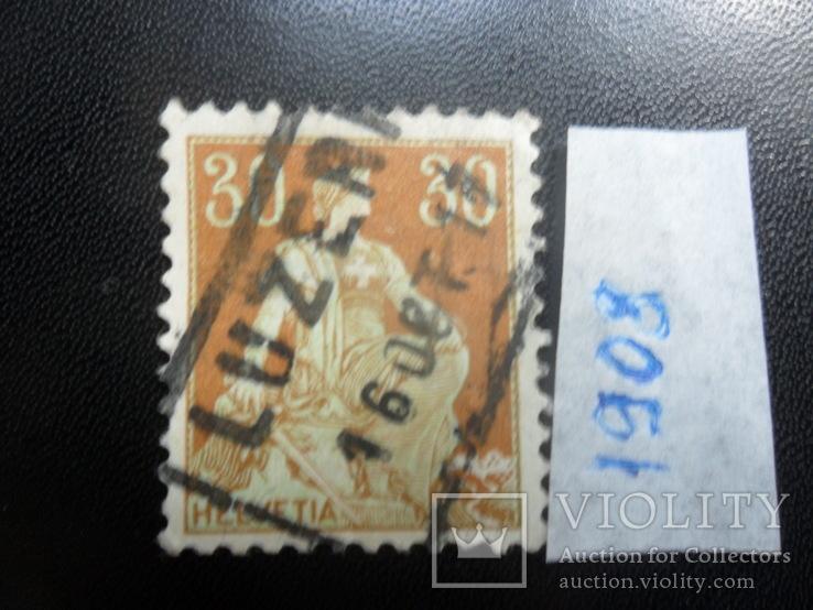 Швейцария. 1908 г. Геральдика. марка гаш