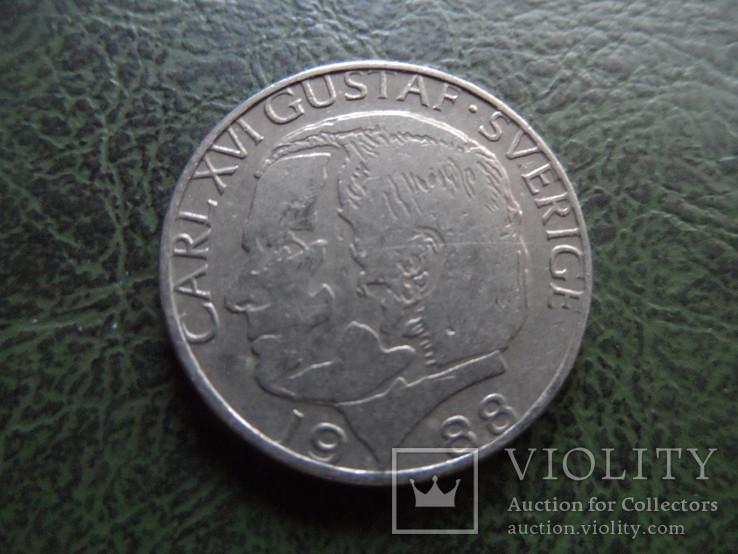 1 крона  1988  Швеция    ($1.1.45) ~, фото №2