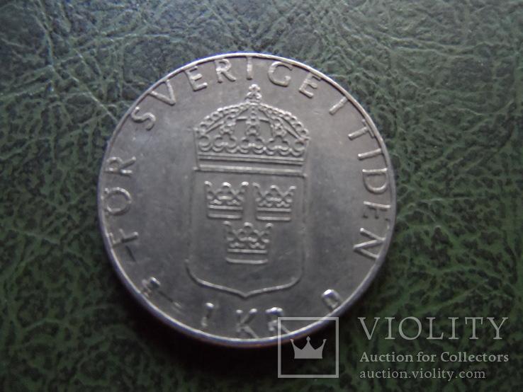 1 крона  1988  Швеция    ($1.1.45) ~, фото №3