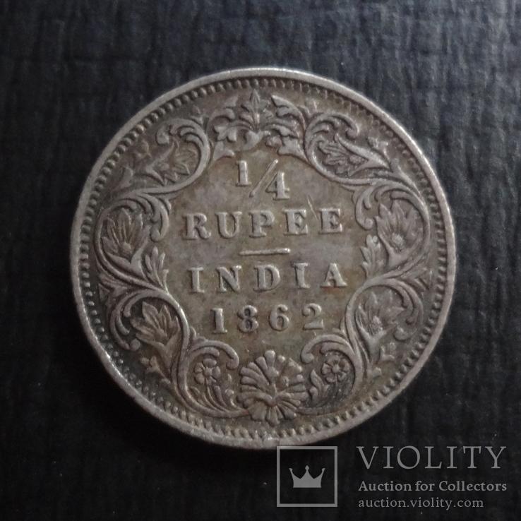 1/4 рупии 1862 Великобританская Индия серебро   ($4.5.21)~, фото №2