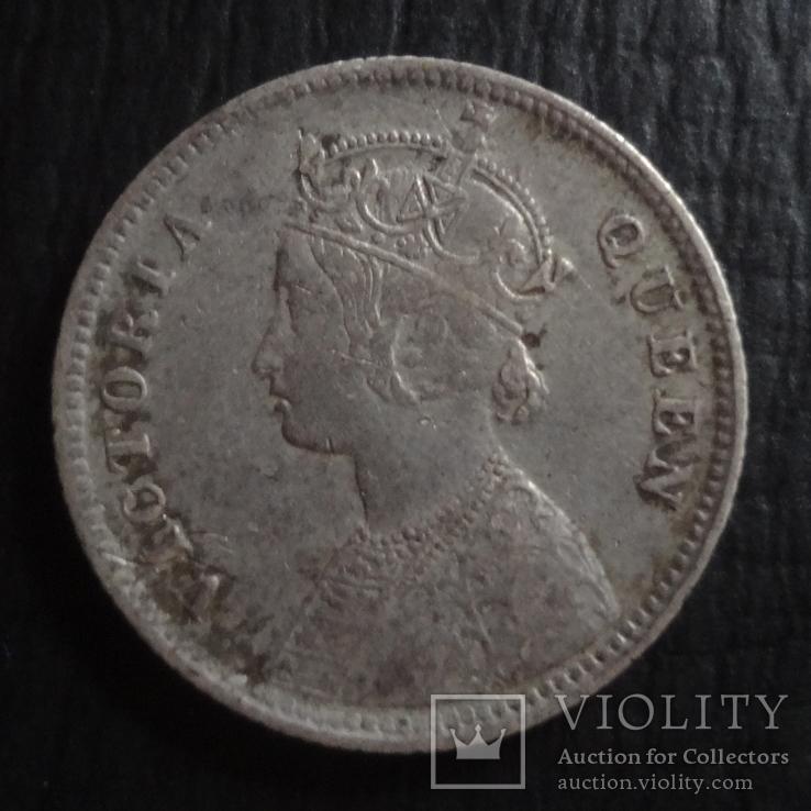 1/4 рупии 1862 Великобританская Индия серебро   ($4.5.21)~, фото №3